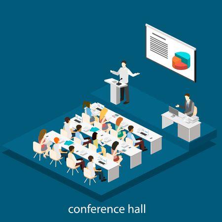 Zakelijke bijeenkomst in een kantoor zakelijke presentatie bijeenkomst in conferentiezaal. Mensen luisteren naar sprekers. Flat 3D-afbeelding. Vector Illustratie