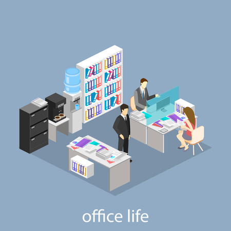 detective agency: Flat 3d isometric abstract office floor interior departments concept .  Office life. Office workspace. People working in offices. Office room. Offices with partitions