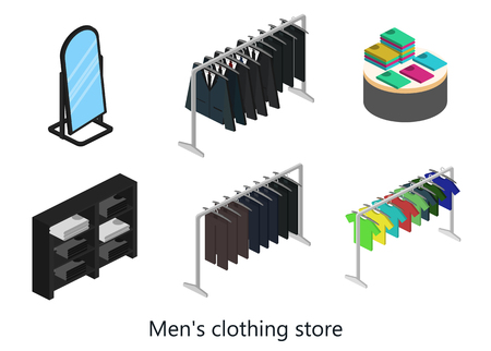clothing shop: Supermarket, electronics store and clothing shop banner set with people shopping and buying products on shelves
