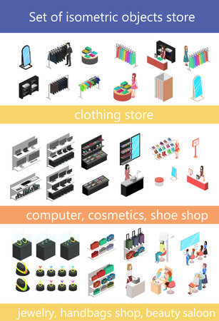 Flat 3d isometric shopping mall concept . City shopping center, boutique gallery indoor interior floors with walking shoppers. Sale, entertainment, multi-use, retail store business concept. Çizim