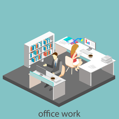 detective agency: Flat 3d isometric abstract office floor interior departments concept. Office life. Office workspace. People working in offices. Office room.