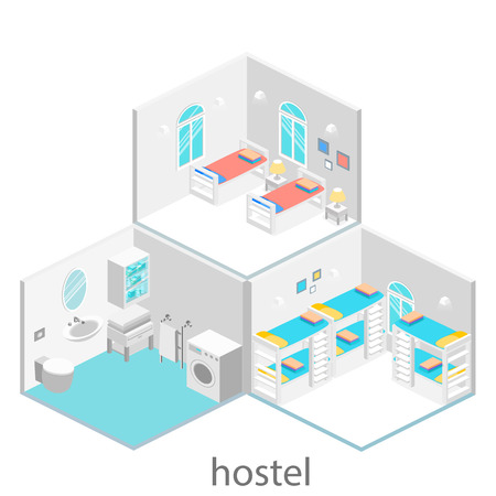 bunk bed: Isometric hotel room with bunk bed and window. Flat 3D illustartion. Set of object.