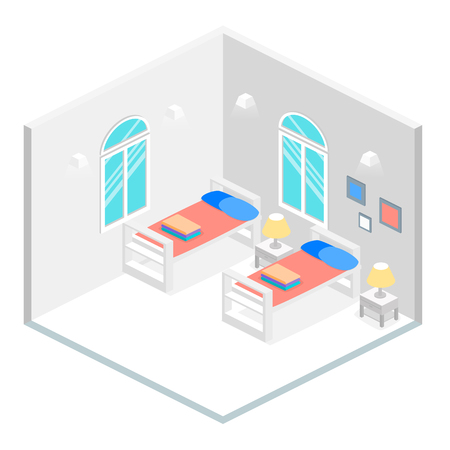 bunk bed: Isometric interior of hostel room. Flat 3D illustartion
