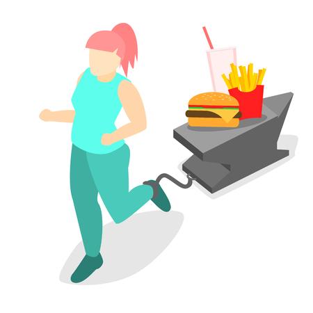 anvil: Isometric woman runs. Flat 3D illustration. Set of object