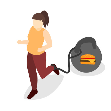 runs: Isometric woman runs. Set of object. Fast food illustration Illustration