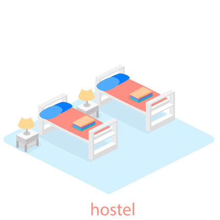 Isometric interior of hostel room. Flat 3D illustartion