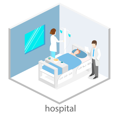 Isometric flat interior of hospital room. Doctors treating the patient. 向量圖像
