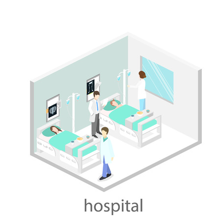 clinical staff: Isometric flat interior of hospital room. Doctors treating the patient. Illustration