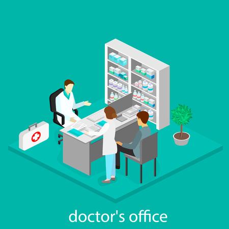 医療相談。等尺性医者オフィスを間します。  イラスト・ベクター素材