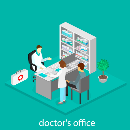 Medical consultation. Isometric interior of doctor office.