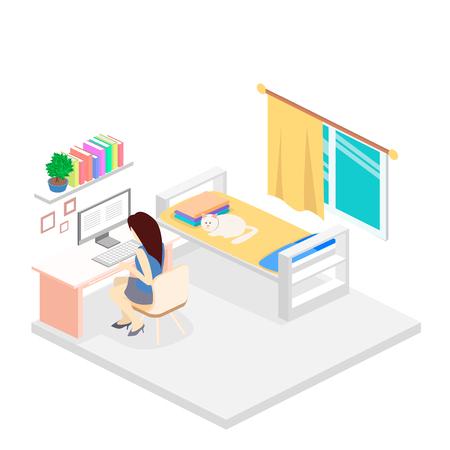 bedroom bed: modern bedroom design in isometric style. home interior