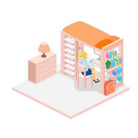 child room: Isometric workplace for child. child Room. Loft bed with table chair and books. Flat 3D illustration. Set of object.