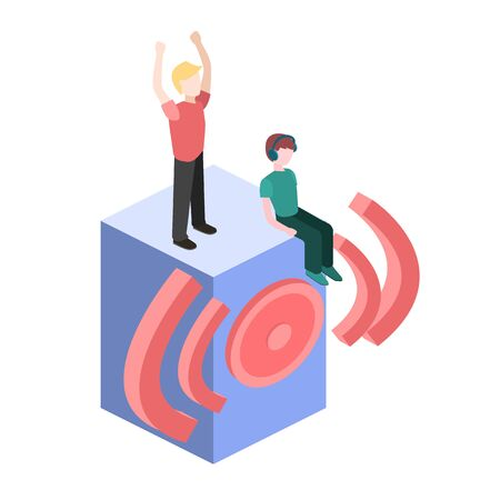 speakers: Isometric people dance.Flat 3D illustration. Set of object.