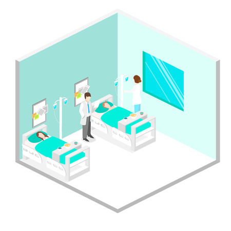 hospital patient: Isometric flat interior of hospital room. Doctors treating the patient. Illustration