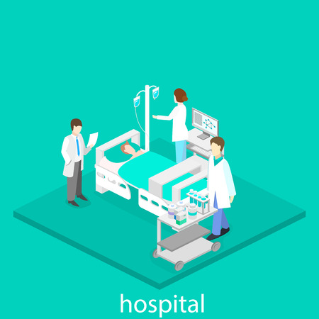 Isometric flat interior of hospital room. Doctors treating the patient. Illustration