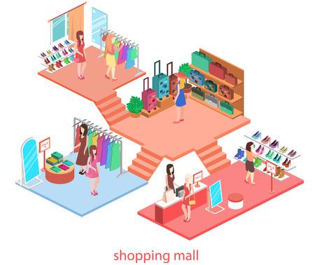 isometrische inter van winkelcentrum. Flat 3D-vector illustratie.