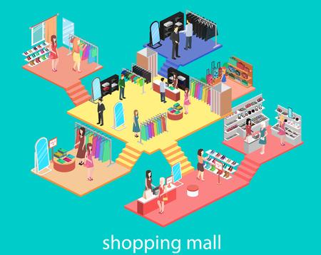 interni isometrica del centro commerciale. Piatto illustrazione vettoriale 3D.