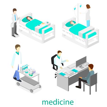 interior plana isométrica de la habitación del hospital. Los médicos que tratan al paciente.