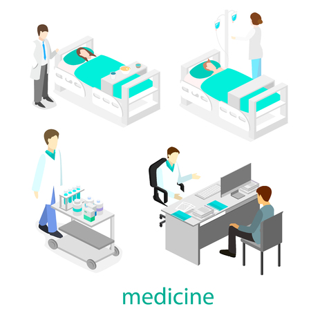 treating: Isometric flat interior of hospital room. Doctors treating the patient. Illustration