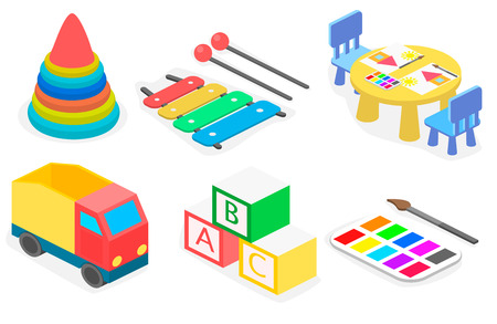 desk toy: Set of isometric toys. Flat 3D illustration.