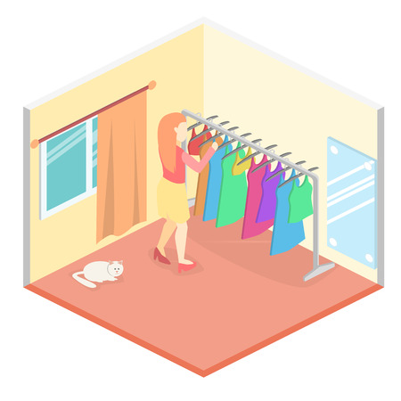 crazy hair: Girl chooses clothes in isometric room. Flat 3D illustration. Illustration