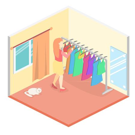 compras compulsivas: La muchacha elige la ropa en la habitación isométrica. Ilustración 3D plana. Vectores