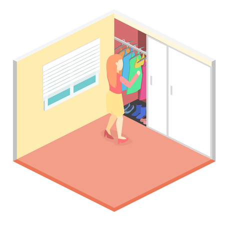 obsessed: Girl chooses clothes in isometric room. Flat 3D illustration. Illustration