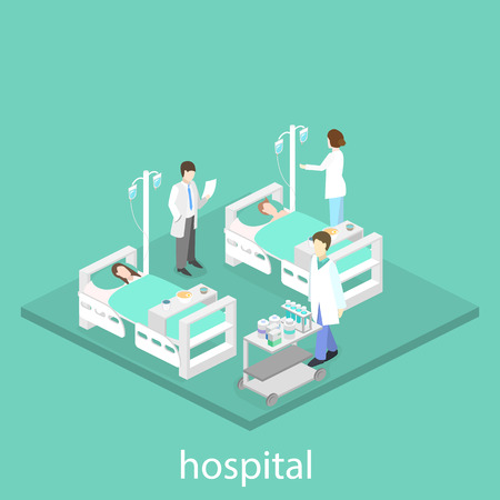 hospital ward: isometric interior of hospital ward. Set of object Illustration