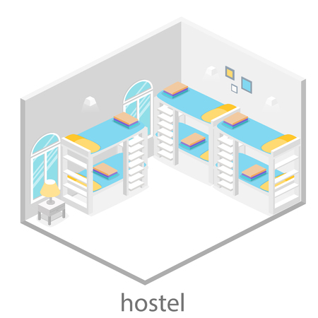 hostel: Isometric interior of hostel room. Set of object