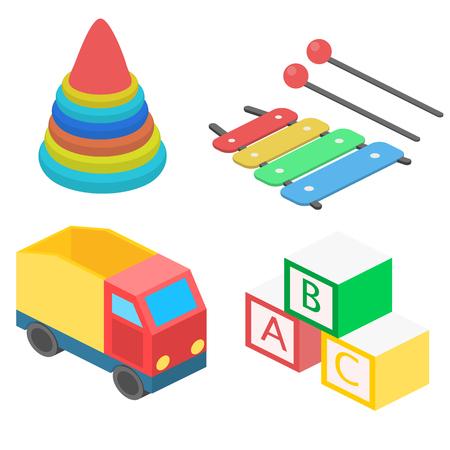 Set of isometric toys. Flat 3D illustration.