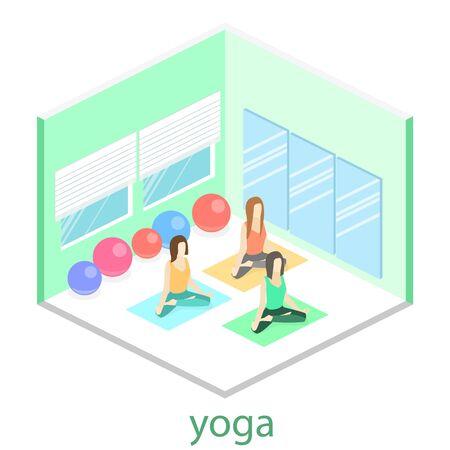 Isometric interior of yoga class. people do yoga. Flat 3D illustration.
