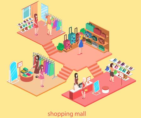 Interior isométrica del centro comercial. ilustración vectorial 3d plana.