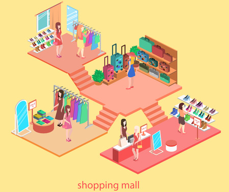 isometric interior of shopping mall. Flat 3d vector illustration.