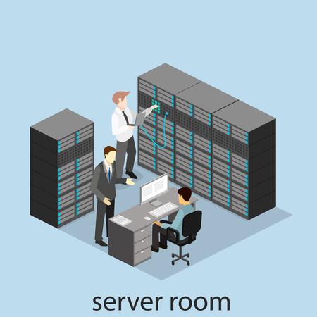rack: isometric interior of server room. Flat 3D illustration.