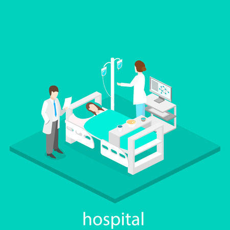 hospital icon: Isometric flat interior of hospital room. Doctors treating the patient. Illustration