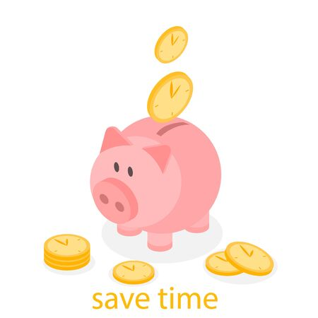 save time: Time is Money Piggy Bank. Save time flat 3D Illustration