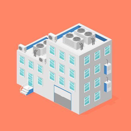 facade: isometric facade of building. Flat 3D illustration