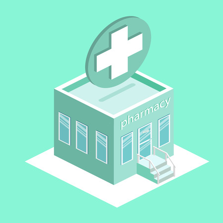 office construction: isometric pharmacy building. Pharmacy outside. Flat 3D illustration