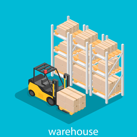 warehouse interior: isometric interior of warehouse. The boxes are on the shelves. Flat 3d illustration.