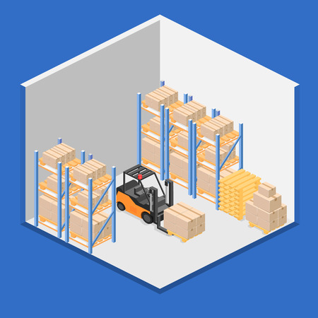 intérieur isométrique de l'entrepôt. Les boîtes sont sur les étagères. Flat 3d illustration.