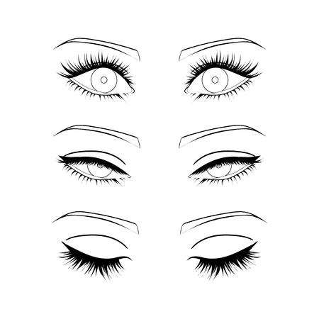 Vrouwelijke ogen omtrek. open, gesloten half-open ogen Vector Illustratie