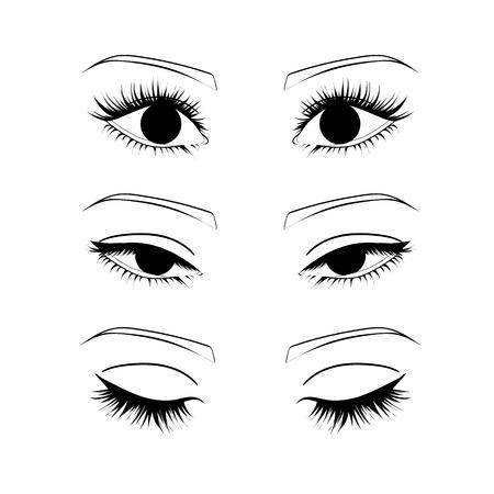 mujer ojos contorno. abierto, cerrado los ojos medio abiertos