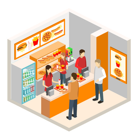 fast food restaurant: isometric fast food restaurant . Set of object Illustration
