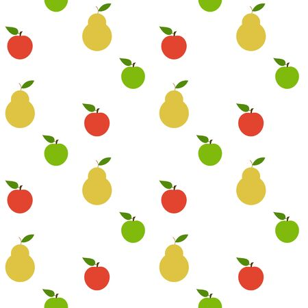mixed fruit: Seamless pattern with apples and pears. set of objects for the store Illustration