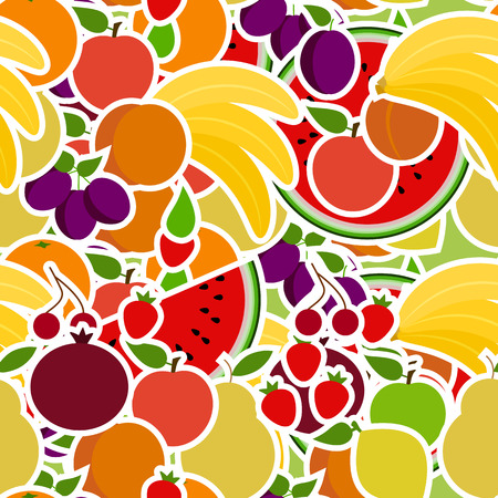 seamless pattern with fruits. set of objects for the store