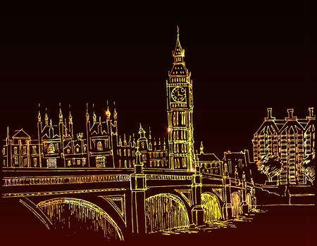london night: hand-drawn landscape of the city