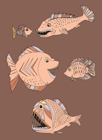 napoleon: scary fish. hand drawn