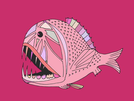 disgusting animal: scary fish. hand drawn
