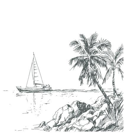 island paradise: Vintage seaside view poster.
