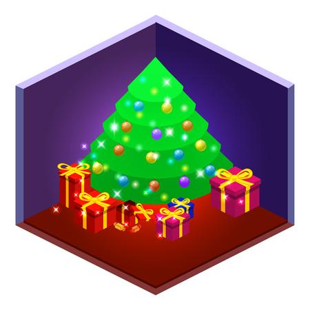 christmas tree decoration: isometric Christmas set